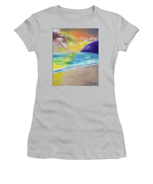 Women's T-Shirt (Athletic Fit) featuring the painting Beach Reflection by Thomas J Herring