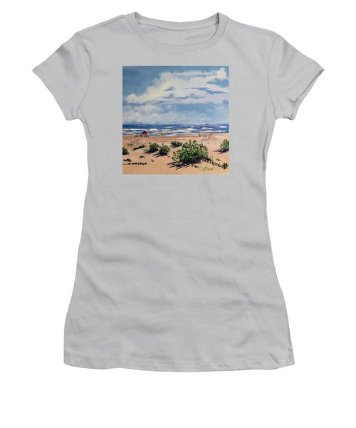Beach Scene On Galveston Island Women's T-Shirt (Athletic Fit)