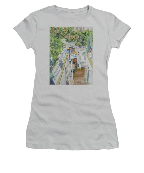 Women's T-Shirt (Junior Cut) featuring the painting Beach Signs by Carol Flagg