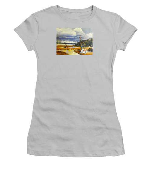 Beached Boat And Fishing Boat At Gippsland Lake Women's T-Shirt (Athletic Fit)