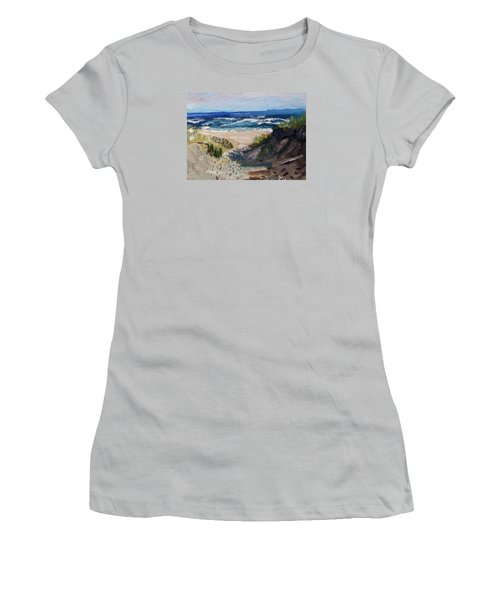 Women's T-Shirt (Junior Cut) featuring the painting Bearberry Hill Truro by Michael Helfen