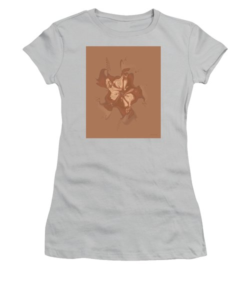 Beige Satin Morning Glory Women's T-Shirt (Athletic Fit)