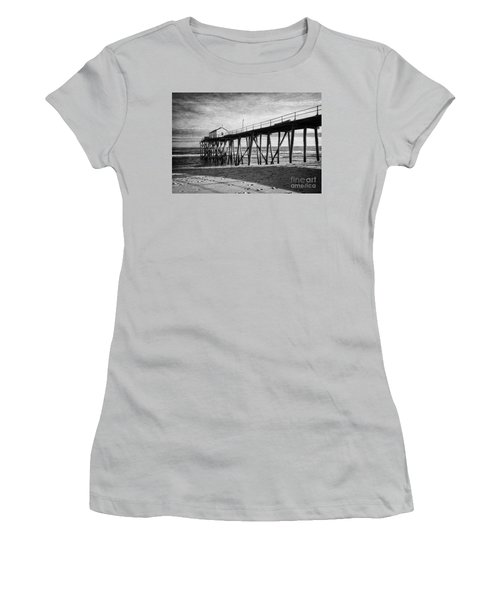 Women's T-Shirt (Junior Cut) featuring the photograph Belmar Fishing Pier In Black And White by Debra Fedchin