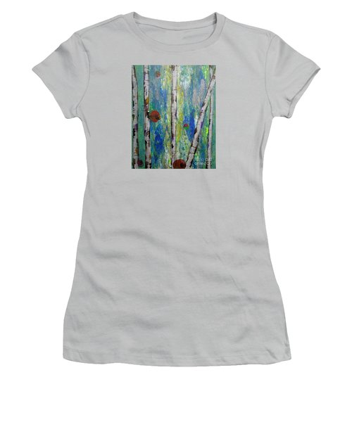 Birch - Lt. Green 4 Women's T-Shirt (Junior Cut) by Jacqueline Athmann