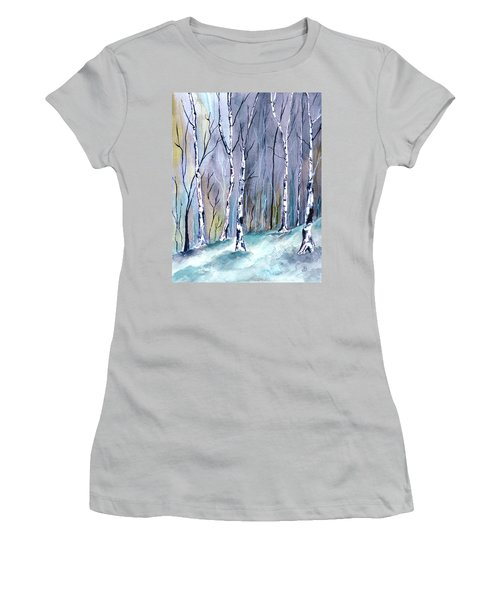 Birches In The Forest Women's T-Shirt (Athletic Fit)