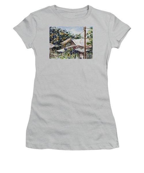 Women's T-Shirt (Junior Cut) featuring the painting Bird's Eye View by Xueling Zou