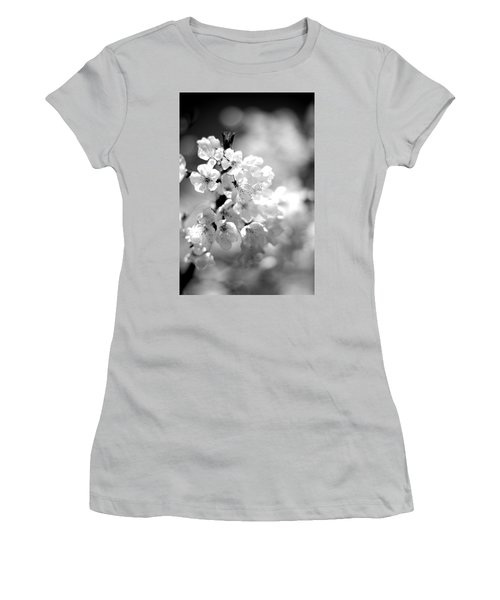 Black And White Blossoms Women's T-Shirt (Athletic Fit)