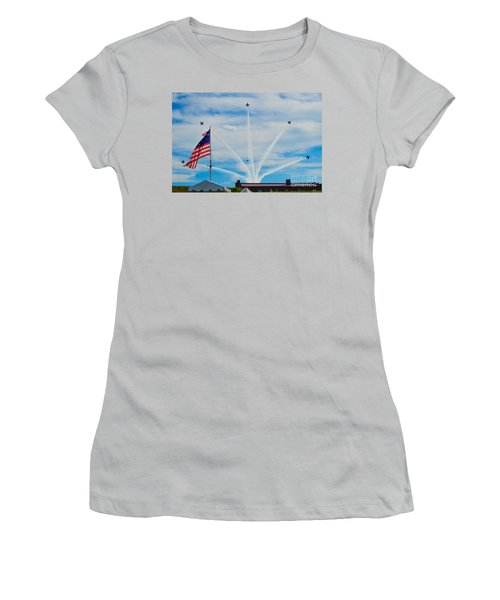 Blue Angels Bomb Burst In Air Over Fort Mchenry Finale Women's T-Shirt (Athletic Fit)
