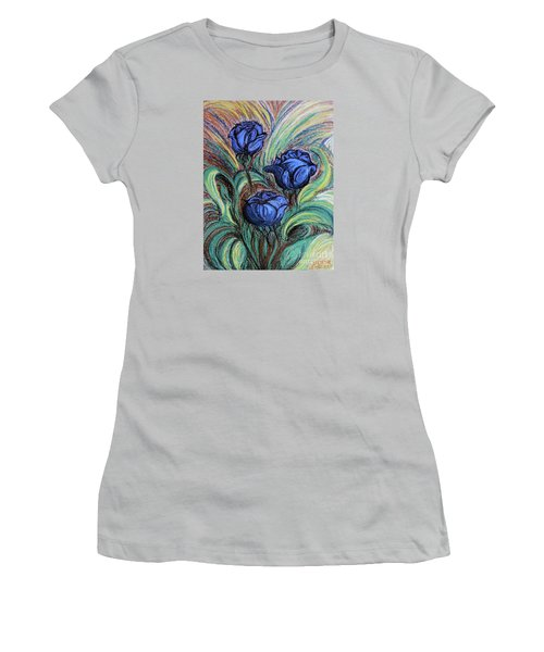 Women's T-Shirt (Junior Cut) featuring the painting Blue Roses by Jasna Dragun