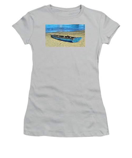 Blue Rowboat Women's T-Shirt (Junior Cut) by Holly Blunkall