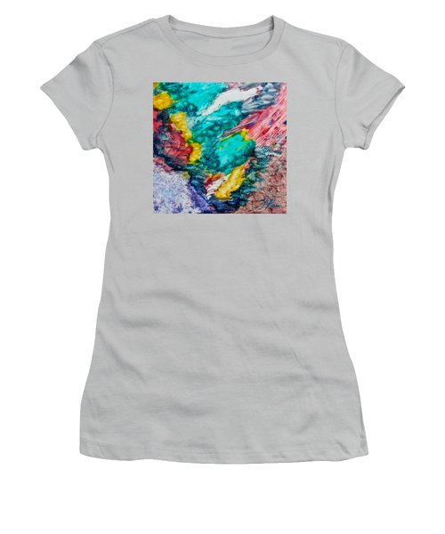 Women's T-Shirt (Junior Cut) featuring the painting Blue Rush by Joan Reese