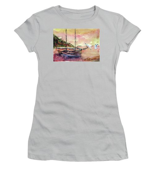 Boats In Sunset  Women's T-Shirt (Athletic Fit)