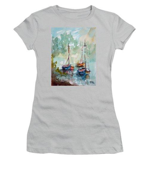 Women's T-Shirt (Junior Cut) featuring the painting Boats On Lake  by Faruk Koksal