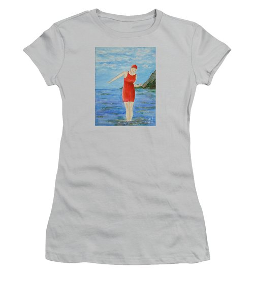 Women's T-Shirt (Junior Cut) featuring the painting Bold Red by Tamyra Crossley