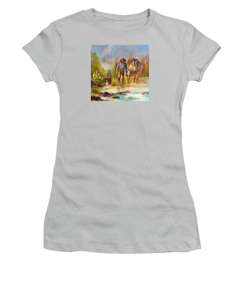 Women's T-Shirt (Junior Cut) featuring the painting Break For The Ride by Karen Kennedy Chatham