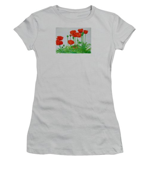 Red Poppies Colorful Flowers Original Art Painting Floral Garden Decor Artist K Joann Russell Women's T-Shirt (Athletic Fit)