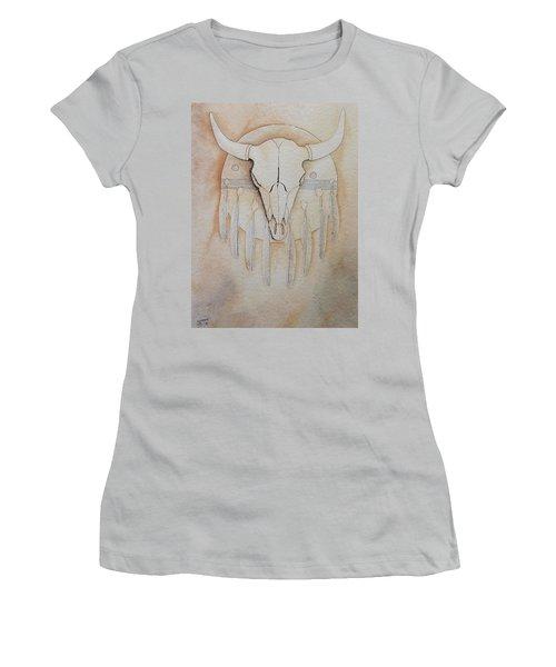 Buffalo Shield Women's T-Shirt (Junior Cut) by Richard Faulkner