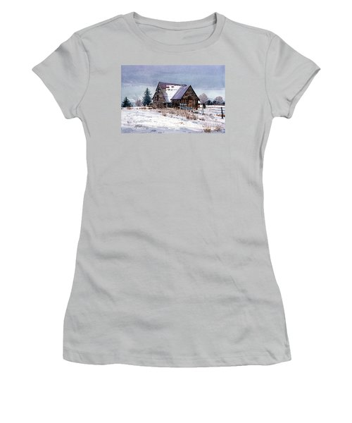 Women's T-Shirt (Junior Cut) featuring the painting Cache Valley Barn by Donald Maier