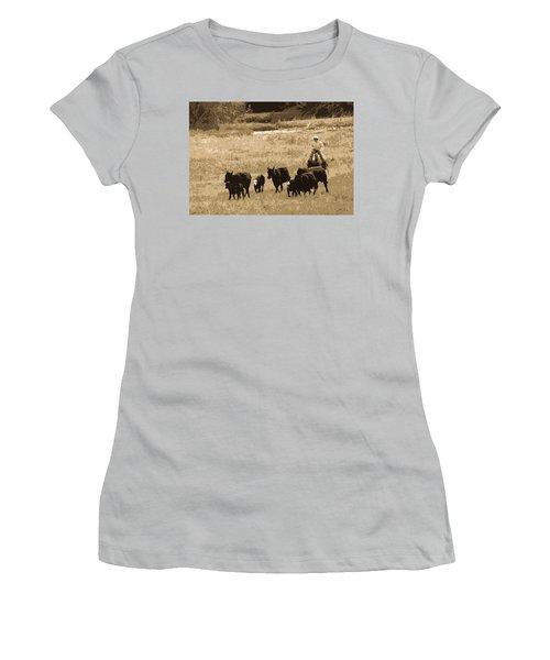 Cattle Round Up Sepia Women's T-Shirt (Junior Cut) by Athena Mckinzie