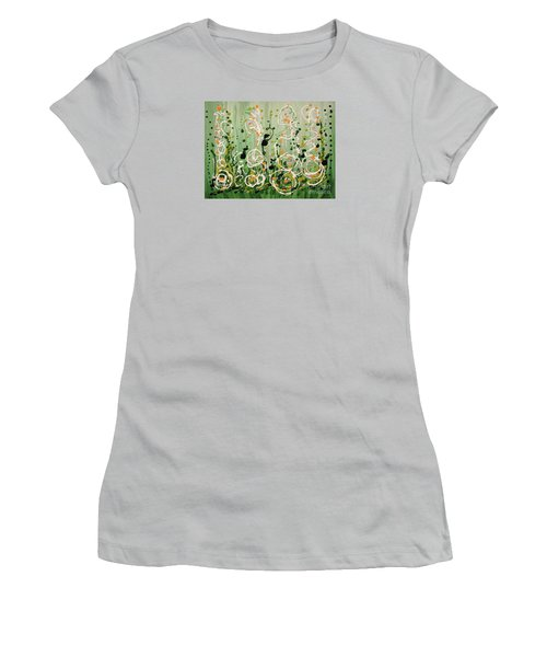 Women's T-Shirt (Junior Cut) featuring the painting Champagne Symphony by Holly Carmichael