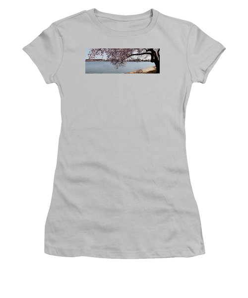 Cherry Blossom Trees With The Jefferson Women's T-Shirt (Junior Cut) by Panoramic Images