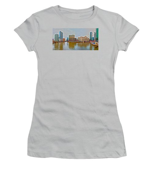 Women's T-Shirt (Junior Cut) featuring the photograph Chicago Skyline And Streets by Alex Grichenko