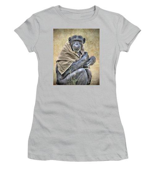 Women's T-Shirt (Junior Cut) featuring the photograph Chimpanzee by Savannah Gibbs