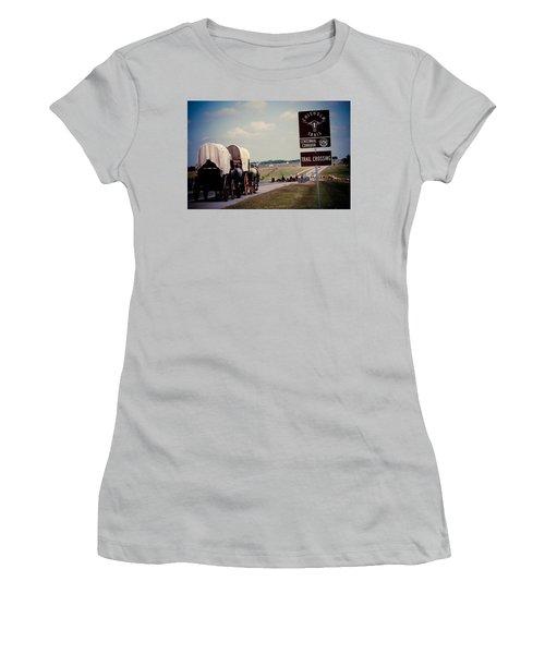 Chisholm Trail Centennial Cattle Drive Women's T-Shirt (Junior Cut) by Toni Hopper