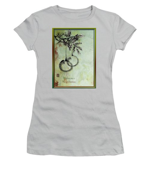 Women's T-Shirt (Junior Cut) featuring the painting Christmas Greeting Card With Ink Brush Drawing by Peter v Quenter