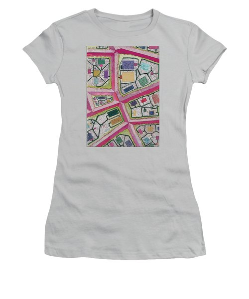 Women's T-Shirt (Junior Cut) featuring the digital art City Circuits by Carol Jacobs
