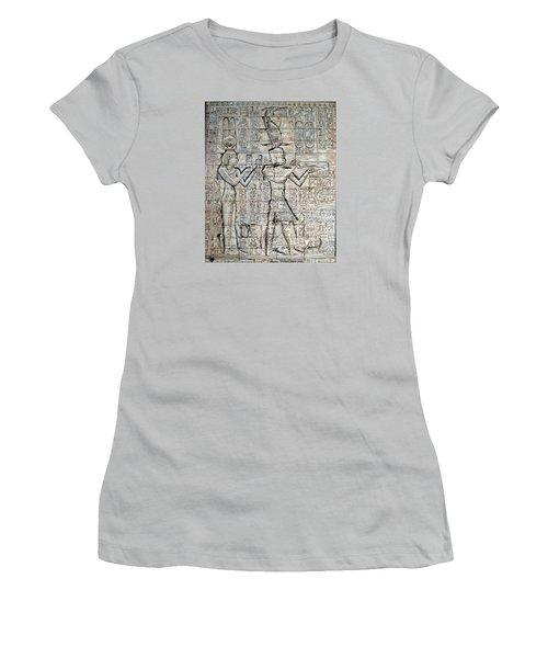 Cleopatra And Caesarion Women's T-Shirt (Junior Cut) by Leena Pekkalainen