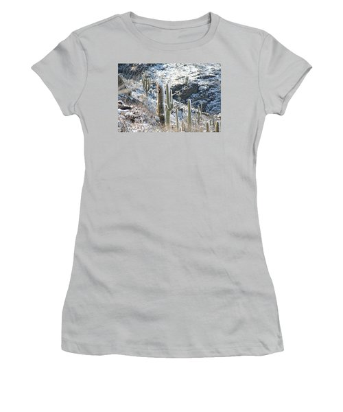Cold Saguaros Women's T-Shirt (Junior Cut) by David S Reynolds