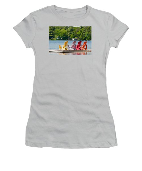 Women's T-Shirt (Junior Cut) featuring the photograph Colorful Chairs by Les Palenik
