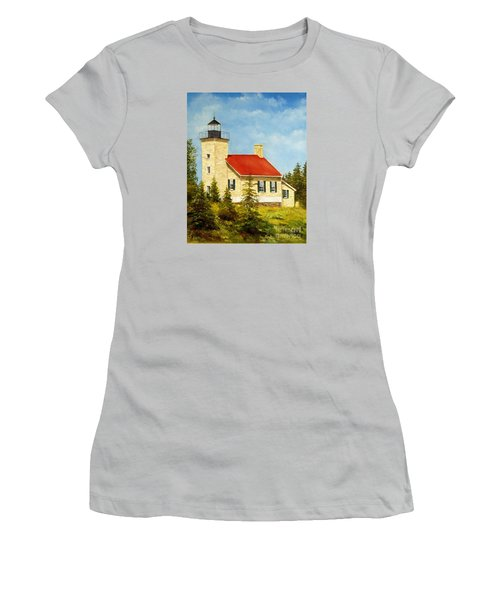 Women's T-Shirt (Junior Cut) featuring the painting Copper Harbor Lighthouse by Lee Piper