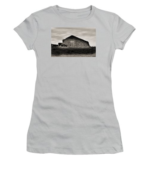 Cow Grazes At Rustic Barn  Women's T-Shirt (Athletic Fit)