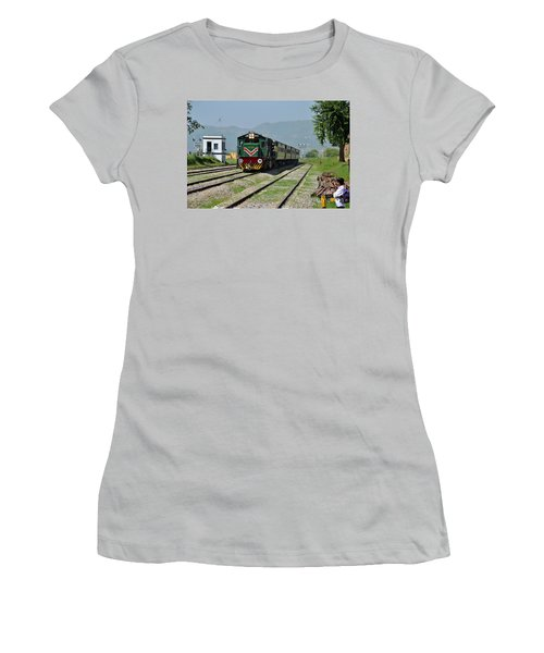 Women's T-Shirt (Junior Cut) featuring the photograph Diesel Electric Locomotive Speeds Past Student by Imran Ahmed