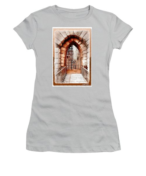 Women's T-Shirt (Athletic Fit) featuring the photograph Do-00424 Portail Of Citadel Sidon by Digital Oil