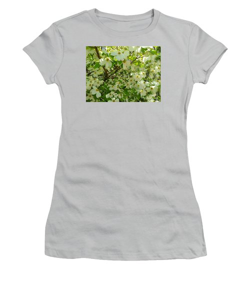 Women's T-Shirt (Junior Cut) featuring the photograph Dogwood Kissed By The Sun by Becky Lupe
