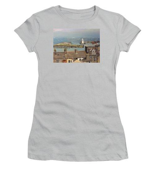Women's T-Shirt (Junior Cut) featuring the painting Donaghadee Ireland Irish Sea by Brenda Brown