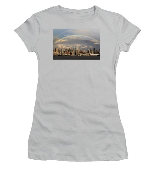 Double Rainbow Over Nyc Women's T-Shirt (Athletic Fit)