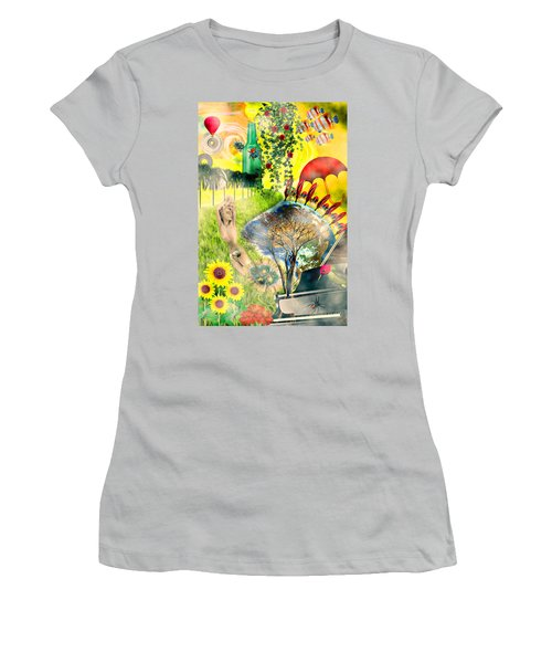 Women's T-Shirt (Junior Cut) featuring the mixed media Drifting Away by Ally  White