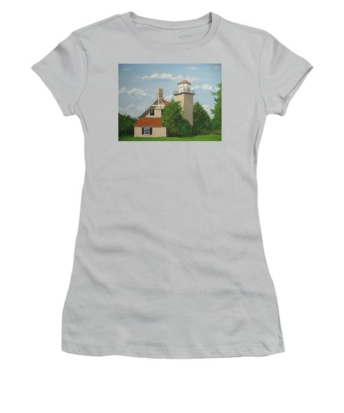 Women's T-Shirt (Junior Cut) featuring the painting Eagle Bluff Lighthouse Wisconsin by Norm Starks