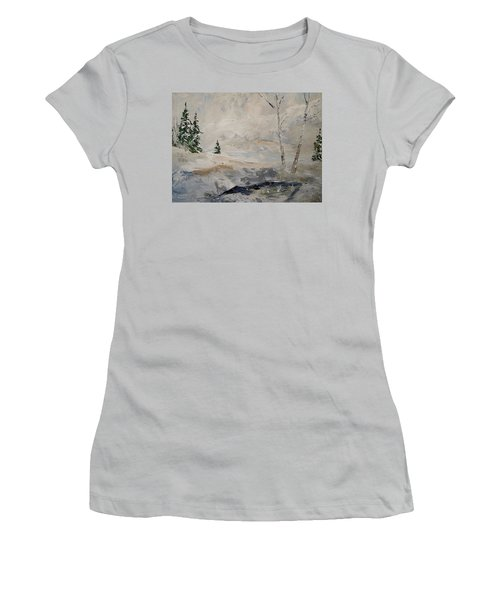 Women's T-Shirt (Junior Cut) featuring the painting Early Snow by Alan Lakin