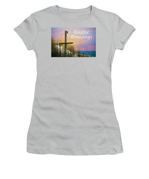 Easter Blessings Cross Women's T-Shirt (Athletic Fit)