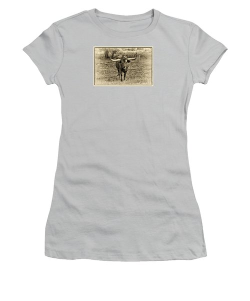 Eat Leaf Not Beef Sepia Women's T-Shirt (Junior Cut) by Priscilla Burgers