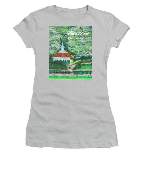 Women's T-Shirt (Junior Cut) featuring the painting Eden Park Gazebo  Cincinnati Ohio by Diane Pape