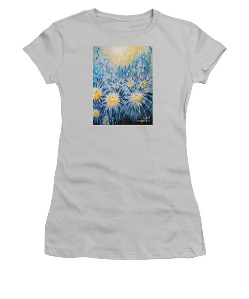 Women's T-Shirt (Junior Cut) featuring the painting Edentian Garden by Holly Carmichael