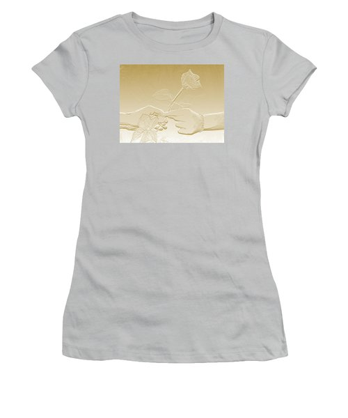 Embossed Gold Rose By Jan Marvin Studios Women's T-Shirt (Athletic Fit)