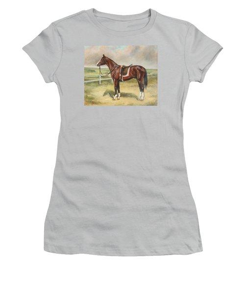 English Stallion Dark Bay Women's T-Shirt (Athletic Fit)