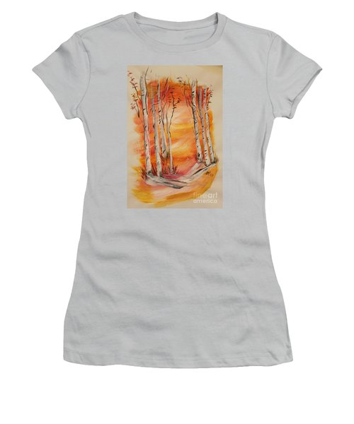 Women's T-Shirt (Junior Cut) featuring the painting Fall Aspen On Paper by Janice Rae Pariza
